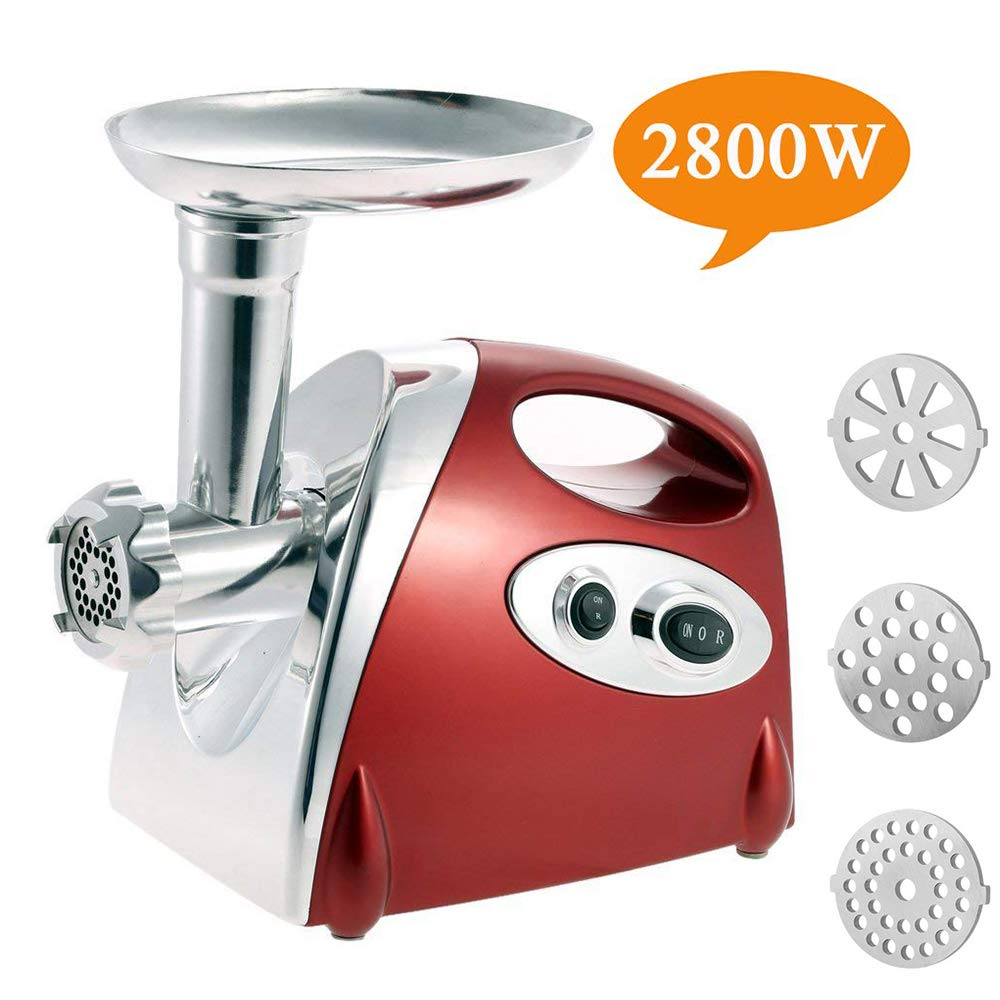 Electric Meat Grinder Stainless Steel and Duty Household Sausage Stuffer Food Processor Grinding Mincing Machine with Kubbe Attachement-Ksun 2800W Heavy Duty Mincer Red ETL Approved