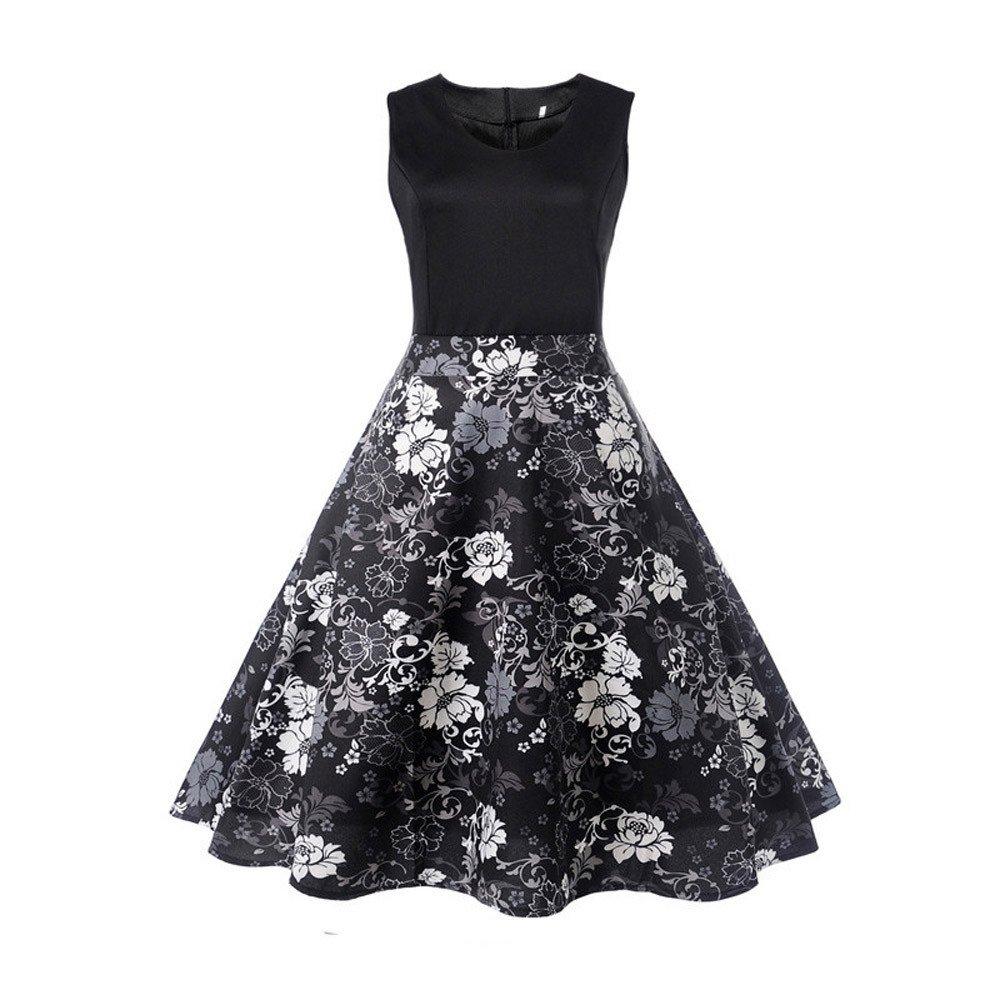 Elegants Women's Dresses Vintage Printing Sleeveless Casual Evening Party Prom Swing Midi Dress Black
