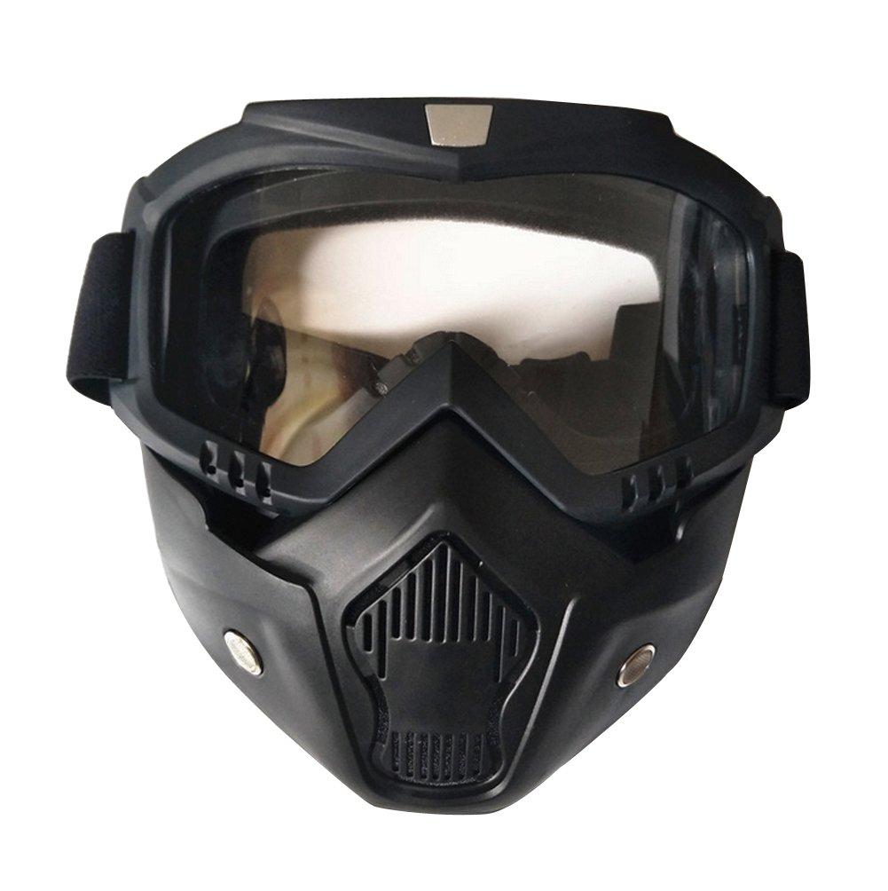 Black//Night Vision Ski Bike Motorcycle Face Mask Goggles Mask Detachable Road Riding UV Motorbike Glasses Sunglasses for Harley Helmet