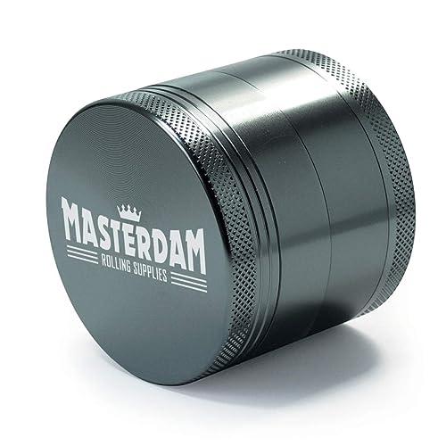 Masterdam Grinders Premium 2.2 Inch Herb Grinder with Pollen Catcher - 4 Part Gunmetal Anodized Aluminium