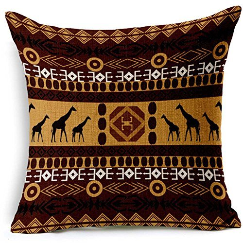 Boho Bohemia Style African Tribe Theme Throw Pillow Case Cotton Blend Linen Cushion Cover Sofa Decorative Square 18 Inches (2)