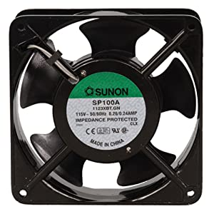 "SUNON SP100A-1123XBT-R AC Fan Ball 117 CFM 50dB Flange Mount, 115V, 60Hz, 0.24 Amp, 20W, 3150 RPM, 1.5"" - 102884"