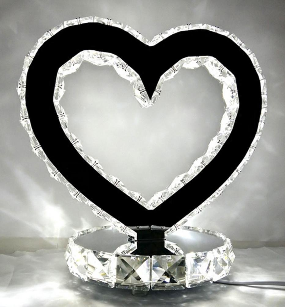 DMMSS High-Grade Wedding Gift Table Lamp Birthday Gift Girls Practical Lighting To Send The Girl'S Heart-Shaped Crystal Lamp Bedroom Creative Ornaments , 1