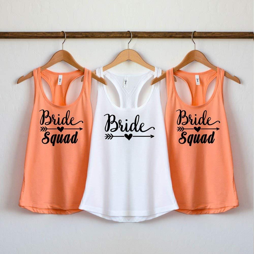 cb79fbe05 Amazon.com: Bride Squad Shirts, Bridesmaid shirts, bridal party tank top,  bride squad tank top, bachelorette party shirts, bridal shirts, wedding  tshirt: ...