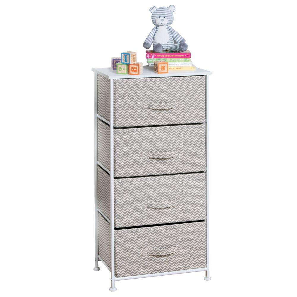 mDesign Vertical Dresser Storage Tower - Sturdy Steel Frame, Wood Top, Easy Pull Fabric Bins - Organizer Unit for Child/Kids Bedroom or Nursery - Chevron Zig-Zag Print - 4 Drawers - Taupe/Natural by mDesign
