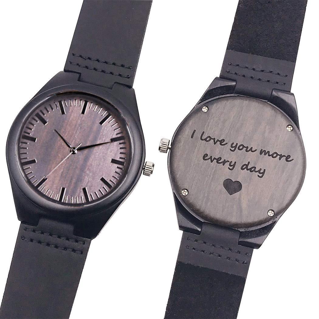 Amazon.com: Customized Engraved Wooden Watch, Casual Handmade Wood Watch for Men Women Husband Wife Girlfriend Boyfriend Dad Mom Son Family Friends ...