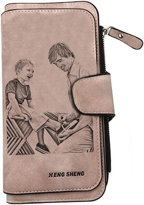 Billetera Personalizada con Foto Billetera Personalizada Billetera con Imagen Grabada Billetera De Cuero(Rosado De un Solo Lado)