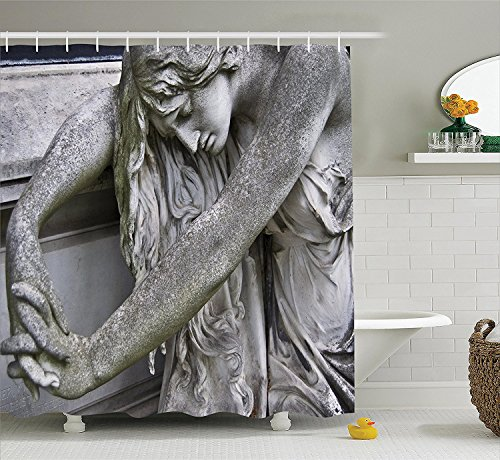 Sculptures Decor Collection Old Marble Tombstone at the Central Cemetery in Vienna Historical Monument Image Polyester Fabric Bathroom Shower Curtain Set with Hooks Grey (Cute Halloween Tombstone Sayings)