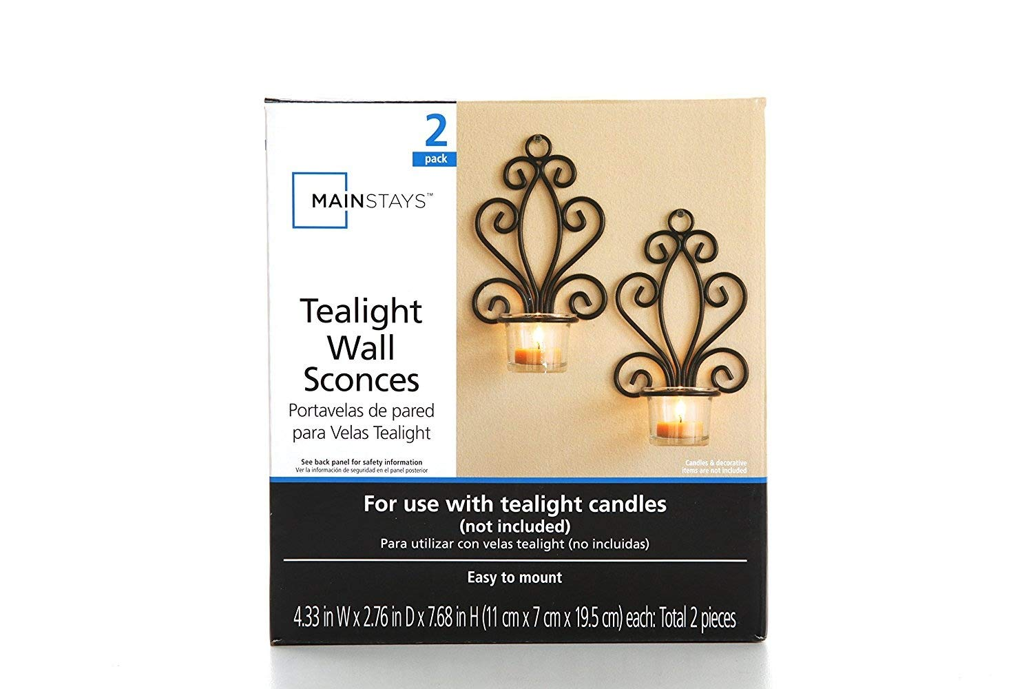 Mainstays Scroll Wall Sconce Candleholders, Set of 2