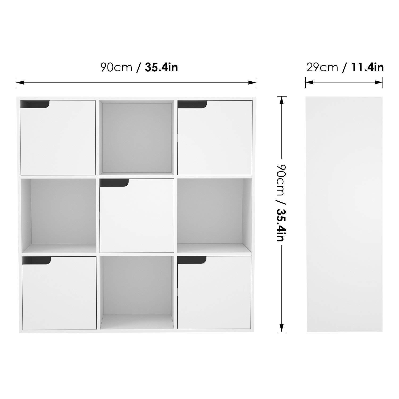Homfa cube storage bookcase white bookshelf wooden display shelf organizer home office with 5 doors 90x29x90cm