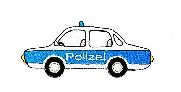 Weiß Blau Polizei Auto Polizei Cartoon Kinder Patch Hand Bestickt