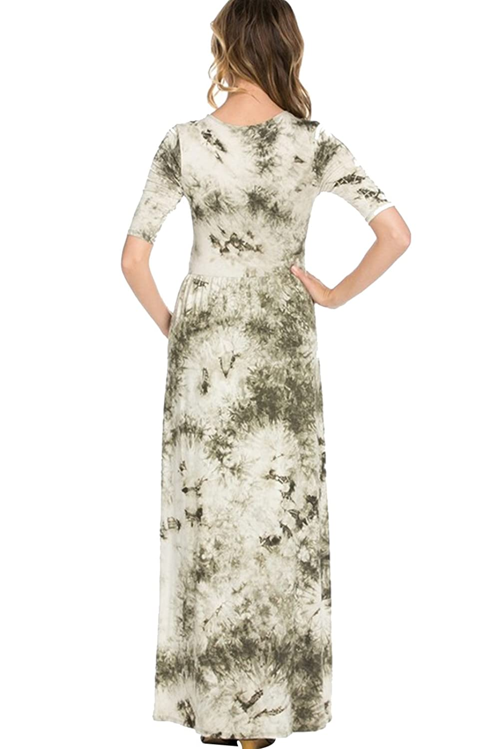 2LUV Women's Shortsleeve Tie Dye Maxi Dress Olive M (ADL-8211RS-A22)
