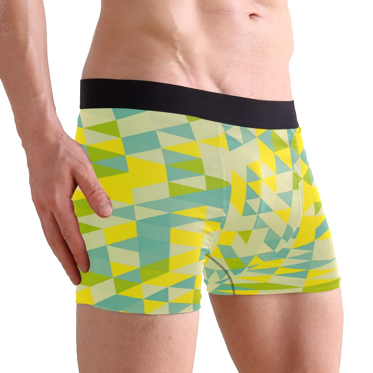 FAJRO Blue Green Triangle Figure Mens Regular Leg Boxer Brief Underwear
