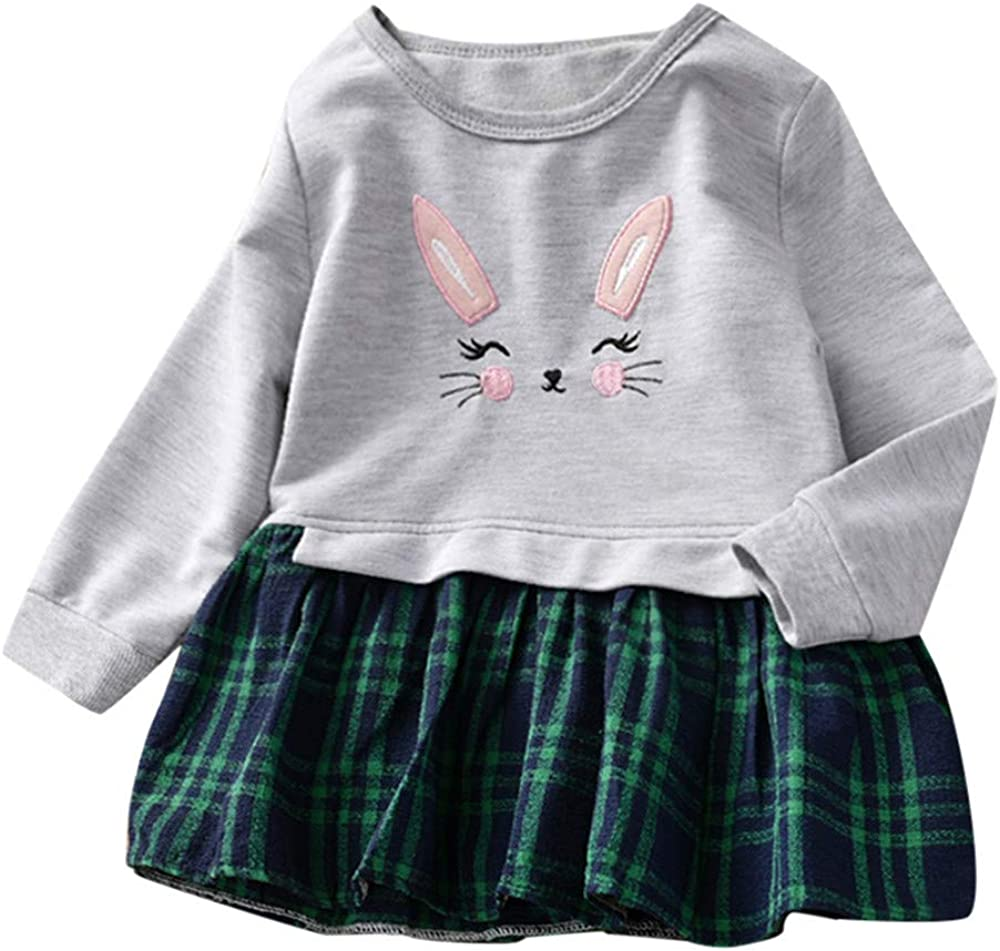 Toddler Baby Girls Plaid Splice Princess Dresses Sweatshirt Outfits Clothes for 1-5 Years Baby Kobay Baby Girls Dress