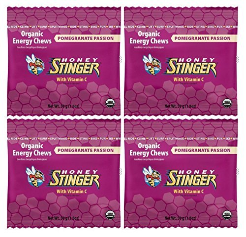 Honey Stinger Organic Energy Chews - Pomegranate Passion Fruit (4 x 1.8oz Bags)