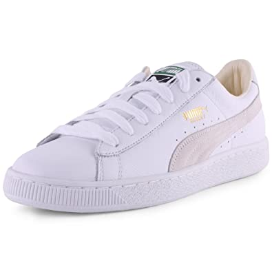 81fc7c2fe7e9 Puma Basket Classic 354367 17 Mens Laced Leather Trainers White White - 7   Amazon.co.uk  Shoes   Bags