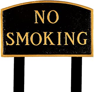 product image for Montague Metal Products SP-9S-BG-LS Standard Black and Gold No Smoking Arch Statement Plaque with 2 23-Inch Lawn Stakes