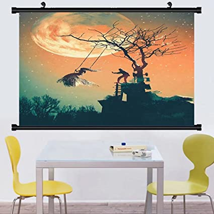 Gzhihine Wall Scroll Fantasy World Decor Hanging Death King Leading His Army Sword Demon Ghost