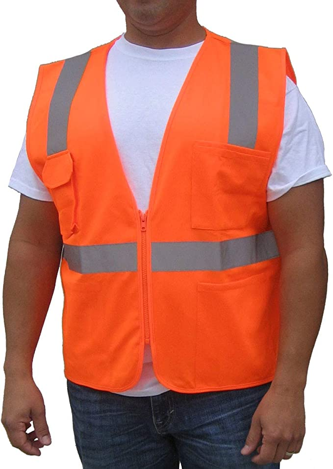 ANSI//ISEA NEON Orange Class 2   3C Products Class 2 Reflective Safety Vest