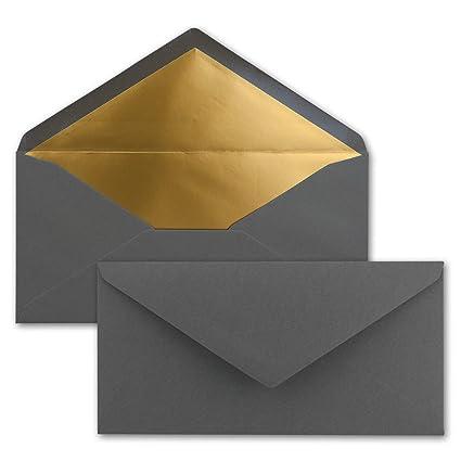 Festliche Kuverts f/ür Einladungen Anthrazit-Grau mit Gold-Metallic Innen-Futter Nassklebung 100 Brief-Umschl/äge DIN Lang 110 x 220 mm