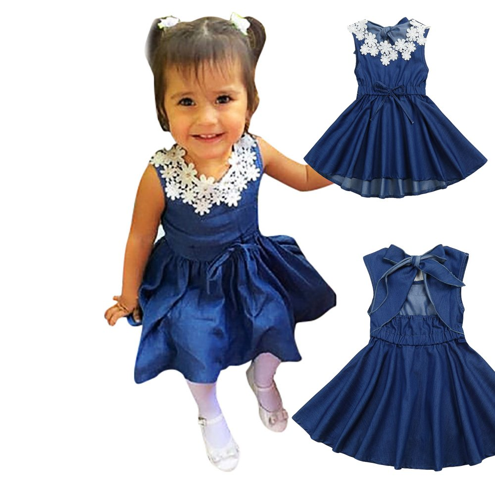 CSSD Infant Newborn {Baby Girls} {Racy Floral} {Ruffles} {Sleeveless} {Summer Backless} Princess Denim Dress Outfits Clothes (3T, Blue)