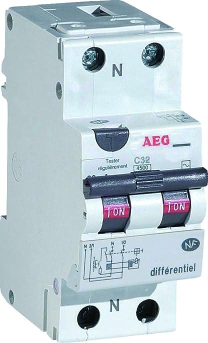 aeg aun608452 disjoncteur différentiel 16 a 30 ma type ac: amazon ... - Disjoncteur Differentiel Pour Salle De Bain