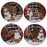 Certified International Snowman's Sleigh Canape Plates (Set of 4), 6'', Multicolor