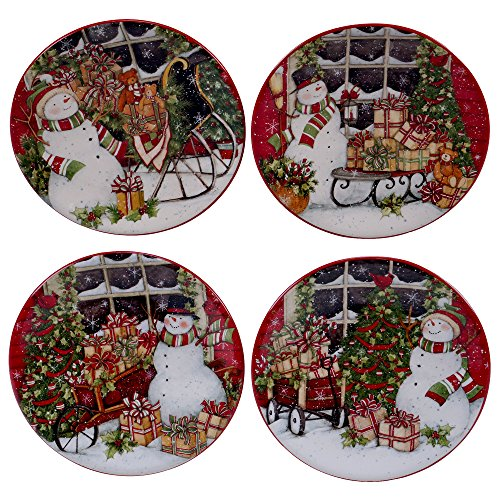 Canape Appetizer Plate (Certified International Snowman's Sleigh Canape Plates (Set of 4), 6