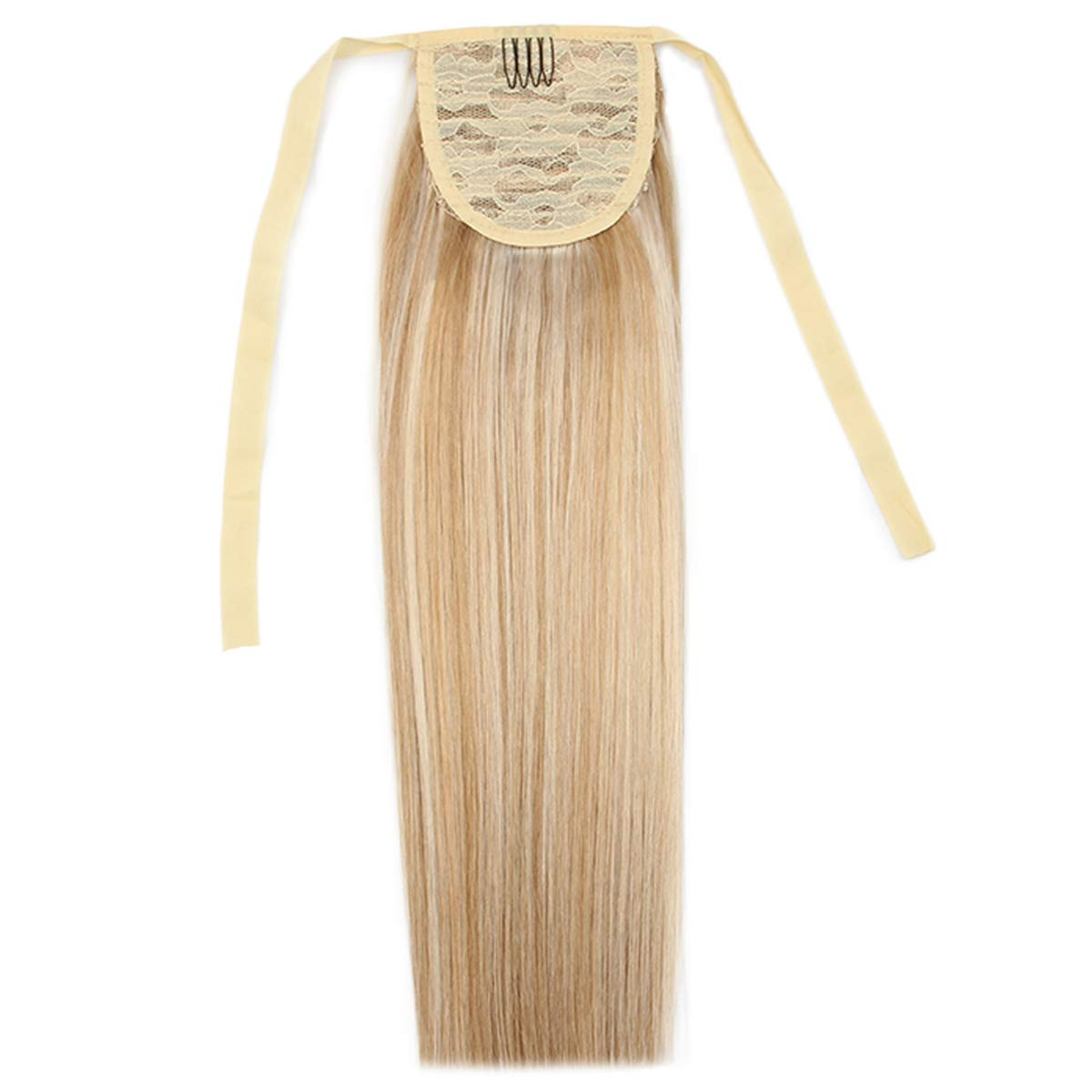 16'' Straight Drawstring Ponytail Hair Extensions Human Hair Ponytail Extension Ribbon Clip in Ponytails Hairpiece 80g