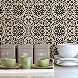 Calista Tile Stencil - Faux Cement Tile Stencils - DIY Floor Tiles - Reusable Stencils for Home Makeover (Large)