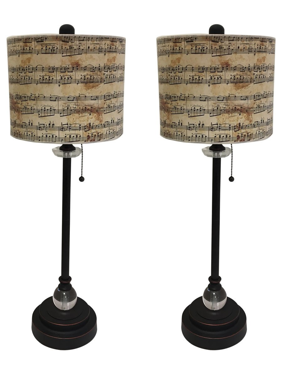 Royal Designs 28'' Crystal and Oil Rub Bronze Buffet Lamp with Musical Notes Design Hardback Lamp Shade, Set of 2 by Royal Designs, Inc