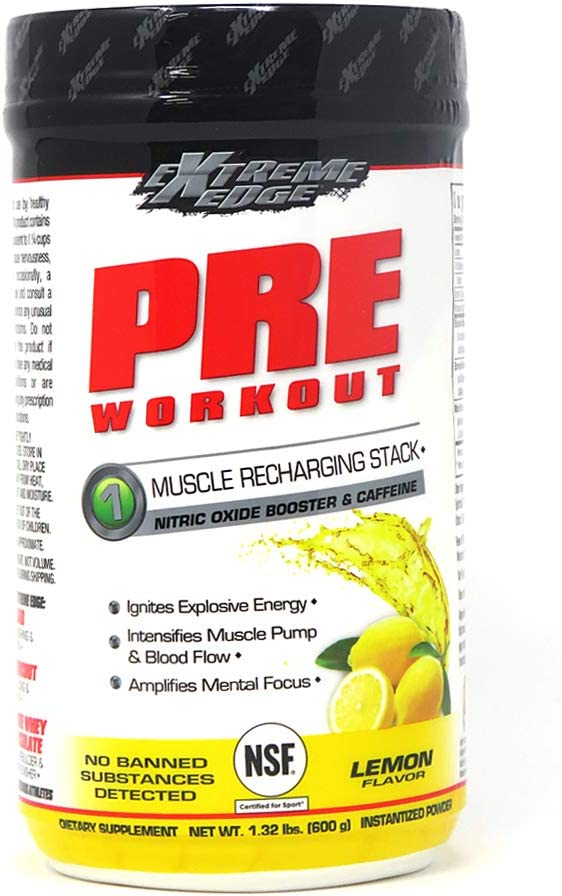 Bluebonnet Nutrition Extreme Edge Pre workout, Muscle Recharging Formula*, Increases Nitric Oxide (NO) levels*, Soy-Free, Dairy-Free, Lemon, 1.32 LB, 60 Servings