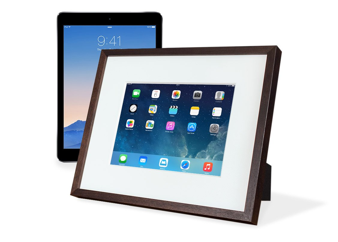 """iFrame (White) – Turn Your iPad into a Beautiful Interactive Digital Picture Frame – Perfect at Home or Work - Includes Table Stand and Wall Mount for all 9.7"""" iPads"""