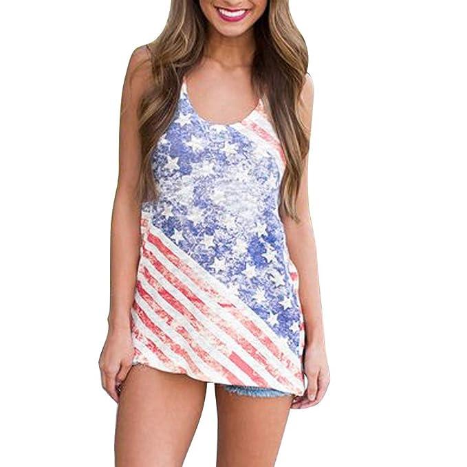 76ebdc78d74 Amazon.com   Fiaya 4th Of July Women Clothes Tank Top Sleeveless O Neck American  Flag Loose T-Shirt Vest (Blue Tunic