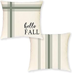 Fall Pillow Covers 18x18 Inches –Set of 2 Rustic Hello Fall Ticking Striped Throw Pillow Covers for Fall Decor- Farmhouse Decorative Pillow Covers for Couch