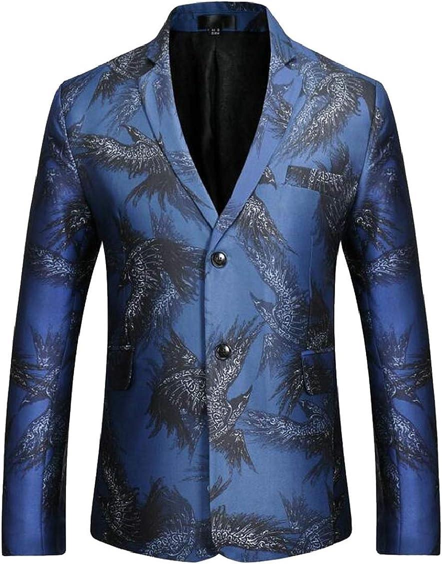 XQS Men Classic Notched Lapel Two-Button Print Blazer Sport Jacket