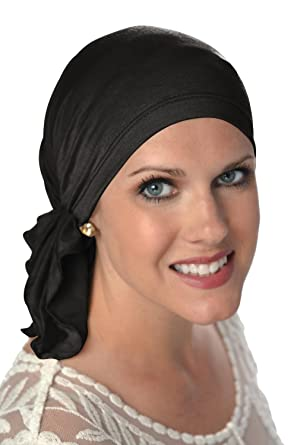 56d55632d40 Slip-On Scarf- Caps for Women with Chemo Cancer Hair Loss Black at ...