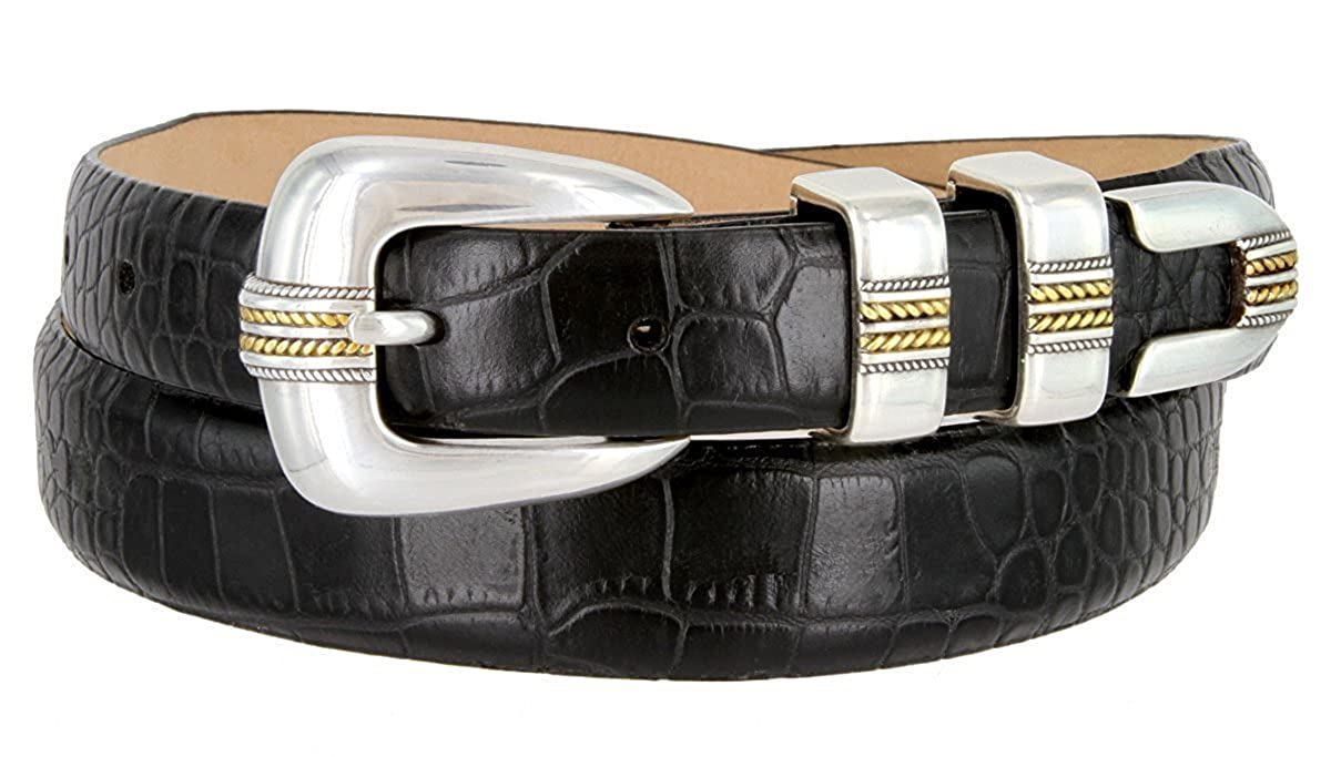 Hagora Men 30 mm Wide Genuine Italian Calfskin 4 Piece Silver Gold Buckle Belt