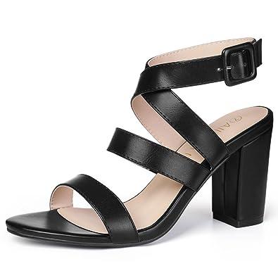 91575628e0 Amazon.com | Allegra K Women's Open Toe Chunky Heel Crisscross ...