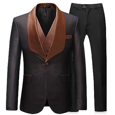 Sliktaa Homme Costume 3 Pièces Slim Fit Formel Marron Moderne Mode Business  Mariage Bal Veste Gilet b574cf1a480