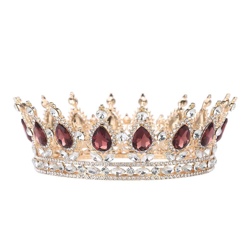 Strass Accessoires de Cheveux de Mariage diad/ème Couronne Ronde /à la Main mari/ée de Bal de Mariage Bijoux Couronne de Mariage diad/ème de Mariage Tiara Salmue Couronne de mari/ée