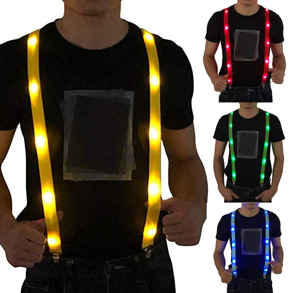 Huaheng LED Brillano Luce Up Bretelle Regolabile Elastico Outdoor Sports Attenzione Torace Cinturino Verde 85cm