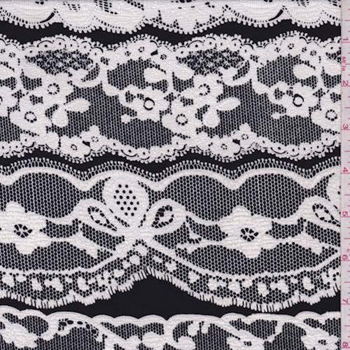 - Black/White Flocked Lace Print Jersey Knit, Fabric by The Yard