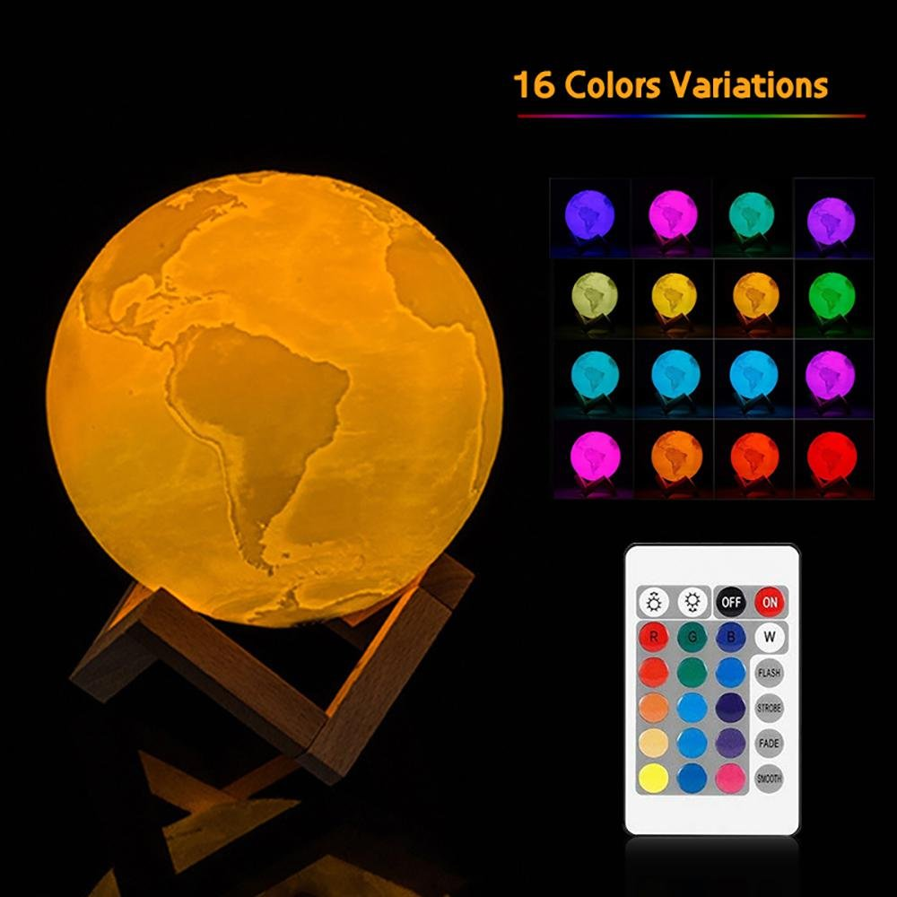 Aolvo Earth Night Light Lamp, USB Rechargeable 3D Print Globe Tellurion Lamp with Wooden Base, 16 RGB Color, Remote & Tap Touch Control, Decor Night Light for Kids, Birthday, Bedside, Home - 5.9''