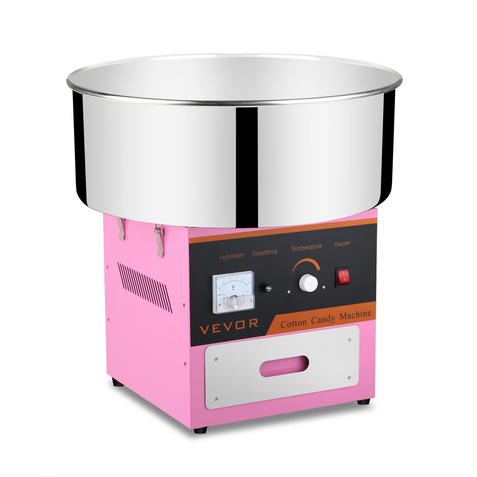 OrangeA Cotton Candy Machine Commercial Cotton Candy Machine Candy Floss Maker 1030W Electric Cotton Candy Maker Food Grade Stainless Steel Pink without Cover(Cotton Candy Machine)