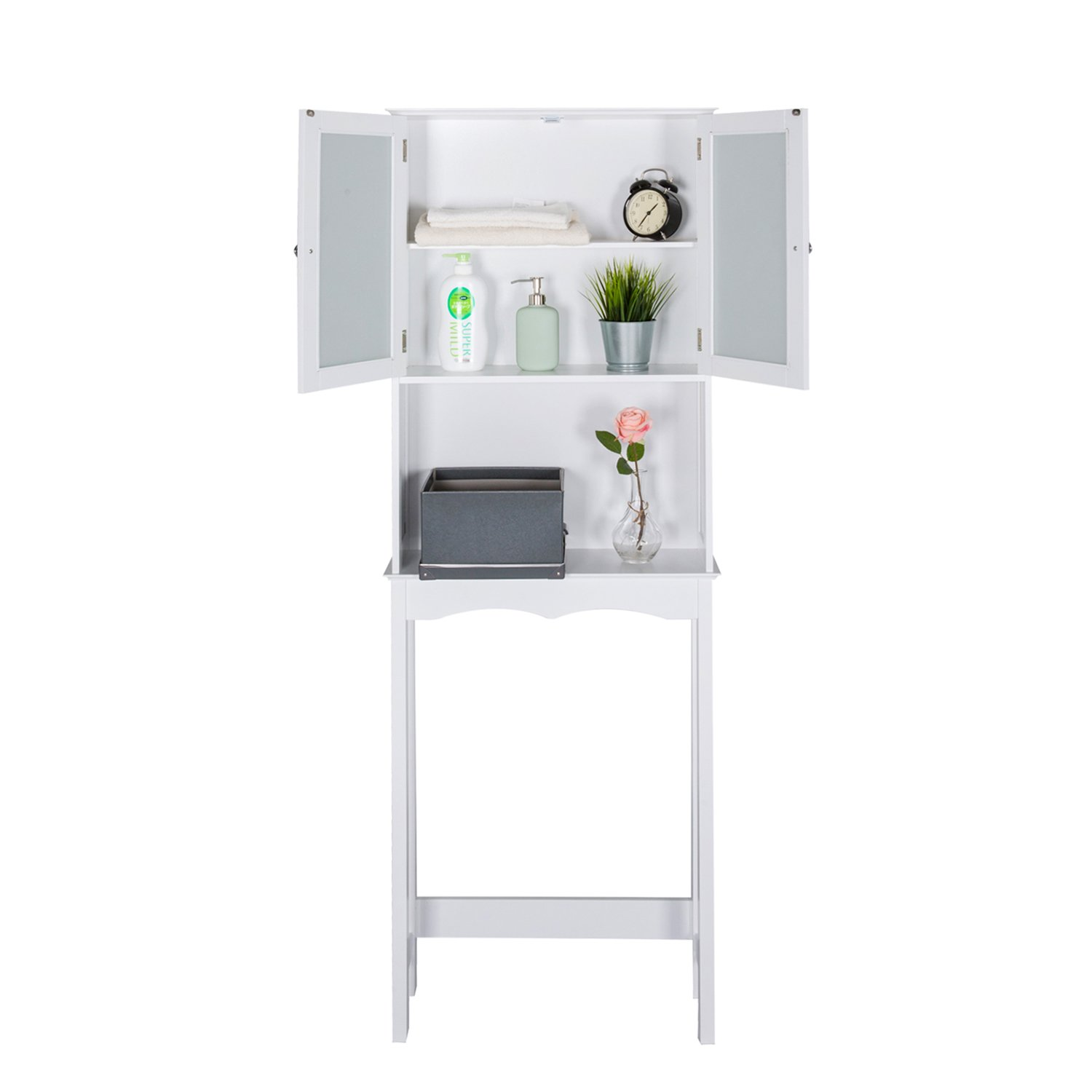 Kinbor 3 Shelf Over The Toilet Bathroom Space Saver, Cottage Collection Bathroom Spacesaver, White