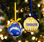 NFL San Diego Chargers LED Boxed Christmas Ornament Set, Small, Multicolored