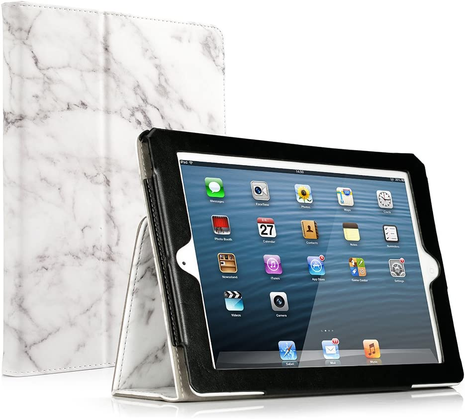 RUBAN Folio Case for iPad 2 3 4 (Old Model) 9.7 inch Tablet - [Corner Protection] Slim Fit Smart Stand Protective Cover Auto Sleep/Wake for iPad 2 iPad 3rd 4th Gen with Retina Display, White Marble