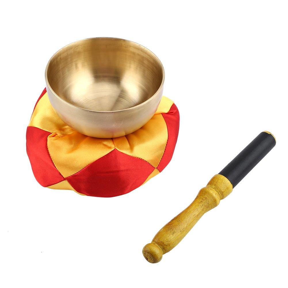 チベット瞑想ヨガSinging Bowl Set with Stick andクッション、銅Buddhistボウル、9 cm瞑想音楽楽器仏教祈りボウルfor Mind andチャクラヒーリング B077HRP59X