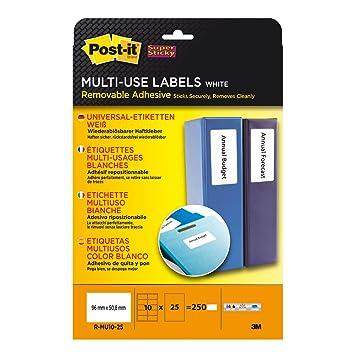 Post-it Super Sticky - Etiquetas imprimibles (multiuso, adhesivo de quita y pon), color blanco: Amazon.es: Oficina y papelería